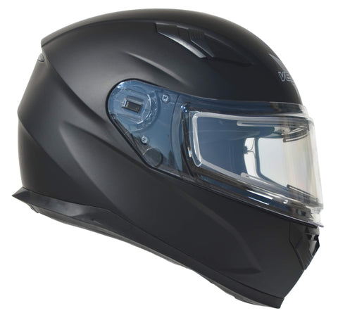 Vega Helmets Ultra Electric Snow Unisex-Adult Full Face Snowmobile Helmet with Heated Shield (Matte Black, Large)