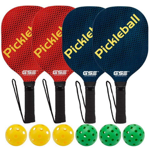 GSE Games & Sports Expert Hardwood Pickleball Paddle and Pickleball Ball Bundles (Single Paddle & Sets Available) (4 Paddles / 6 Balls) [product _type] GSE Games & Sports Expert - Ultra Pickleball - The Pickleball Paddle MegaStore