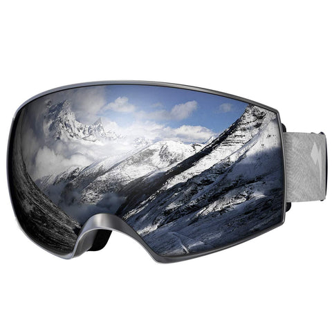 WhiteFang Ski Goggles, Over Glasses OTG Snow/Snowboard Goggles for Men Women & Youth, Anti-Fog Dual Layer Lens & 100% UV400 Protection (Bright Silver Frame-Silver Lens VLT 7%)