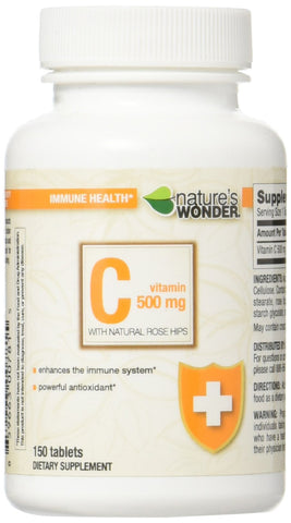 Nature's Wonder Vitamin C 500mg RH Tablets, 150 Count