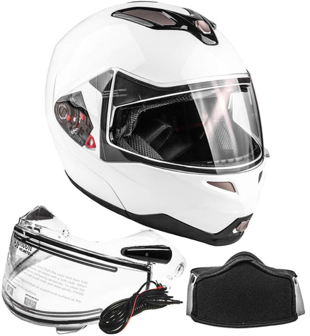 Typhoon Dual Visor Modular Full Face Snowmobile Helmet With Heated Shield, Breath Box (White, Small)