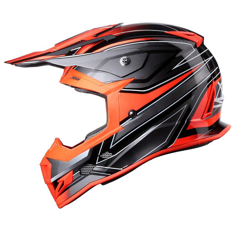 GLX Unisex-Adult GX23 Dirt Bike Off-Road Motocross ATV Motorcycle Helmet for Men Women, DOT Approved (Sear Orange, Medium)