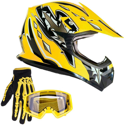 Typhoon Youth Kids Offroad Gear Combo Helmet Gloves Goggles DOT Motocross ATV Dirt Bike MX Motorcycle Yellow, Large