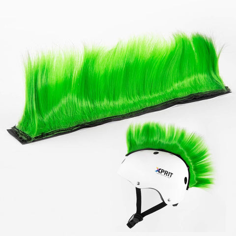 XPRIT Mohawk, Warhawk Wig Accessory Adhesive/Stick On Helmet for Skateboarding, Dirt-Bikes, Motorcycle, Cycling (Green Mohawk Wig)