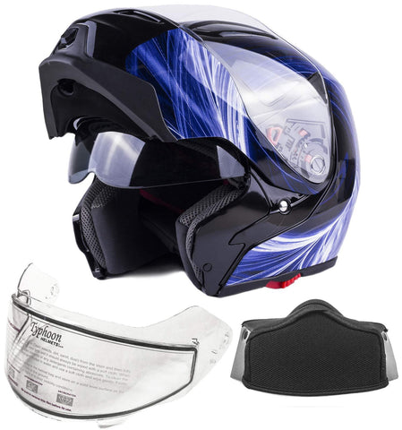 Typhoon G339 Adult Dual Visor Modular Snowmobile Helmet DOT Full Face Flip-up (Blue, Large)
