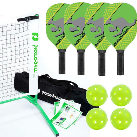 Kanga Pickleball Paddle, Portable Net and Ball Set (Includes Metal Frame + Net + 4 Kanga Wood Paddles + 4 Balls + Rules Sheet in Carry Bag) (3.0 - Green) [product _type] PickleballCentral - Ultra Pickleball - The Pickleball Paddle MegaStore