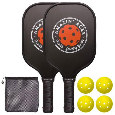 Amazin' Aces Pickleball Paddle Set | Pickleball Set Includes Two Graphite Pickleball Paddles + Four Balls + One Mesh Carry Bag | Premium Rackets Feature a Graphite Face & Polymer Honeycomb Core [product _type] Amazin' Aces - Ultra Pickleball - The Pickleball Paddle MegaStore