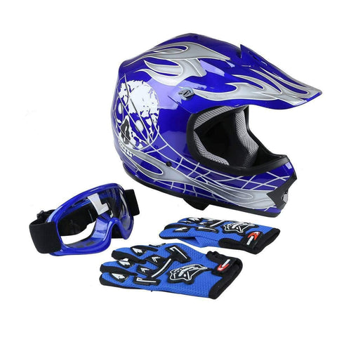 TCMT Dot Youth & Kids Motocross Offroad Street Motorcycle Dirt Bike Motocross ATV Helmet Blue Skull with Goggles Gloves (L)