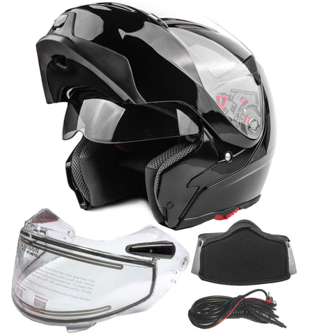Typhoon G339 Dual Visor Modular Full Face Snowmobile Helmet With Heated Shield, Breath Box (Gloss Black, Medium)