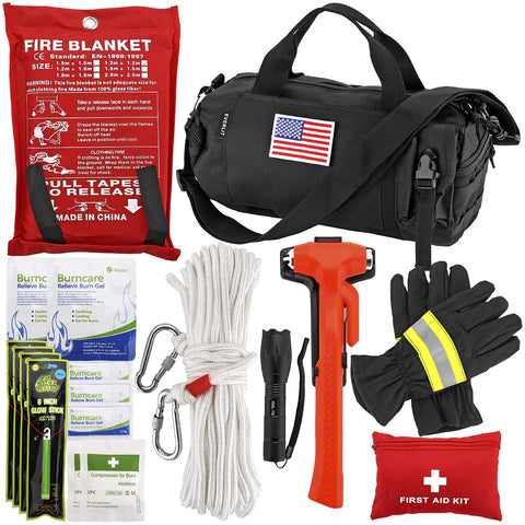 EVERLIT Survival Emergency Fire Safety Kit with Fire Blanket, Heat Resistant Gloves, Escape Rope, Glass Hammer, Glow Sticks, Flashlight, First Aid Supplies with Burn Injury Care Treatment and More