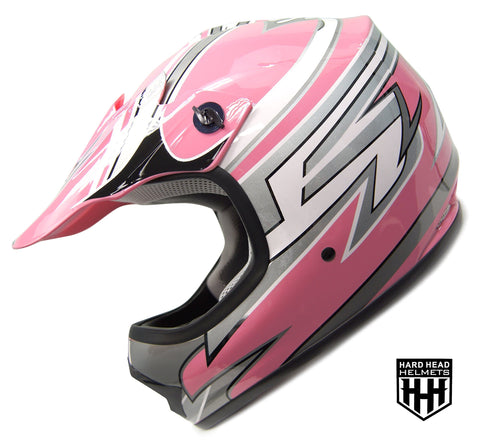 SmartDealsNow - HHH DOT Youth & Kids Helmet for Dirtbike ATV Motocross MX Offroad Motorcyle Street bike PINK STRIPES (Large)