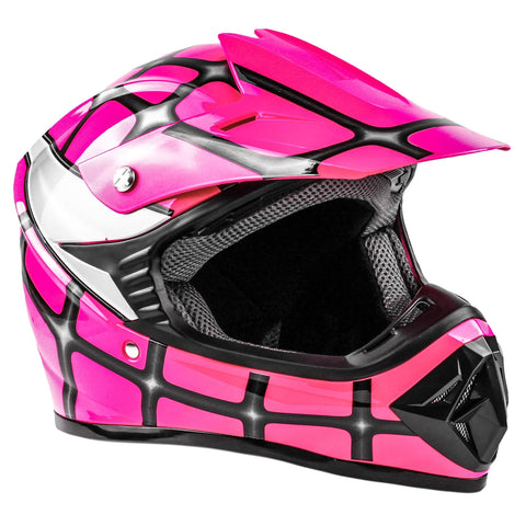Typhoon Kids Youth Offroad Helmet DOT Motocross ATV Dirt Bike MX Motorcycle Spiderman Pink, Medium