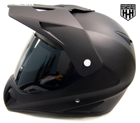 SmartDealsNow - HHH DOT ADULT Helmet for Dirtbike ATV Motocross MX Offroad Motorcyle Street bike Snowmobile HELMET with VISOR (Large, Matte Black)