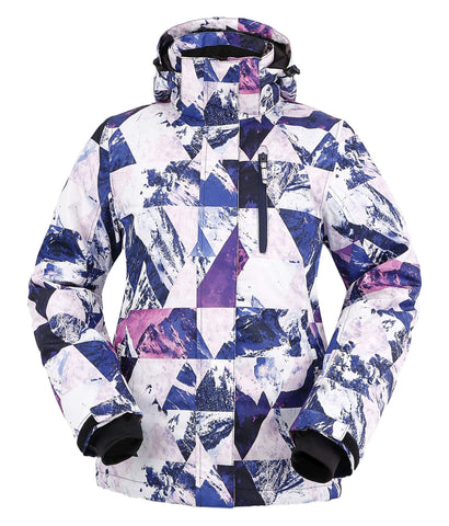 Andorra Ski Jacket Womens Waterproof Mountain Jacket Windproof Snow Jacket,Retro Violet Grunge,S