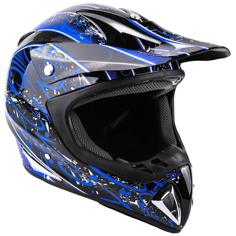 Typhoon Adult Dirt Bike Helmet ATV Off Road ORV Motocross Helmet DOT Motorcycle Blue (Large)
