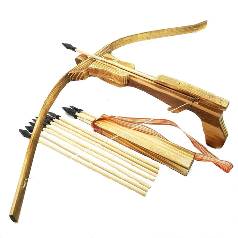 Adventure Awaits! - Handmade Wood Toy Crossbow Set - 10 Wood Arrows and a Quiver - for Outdoor Play