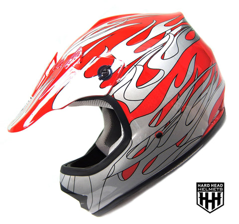 SmartDealsNow - HHH DOT Youth & Kids Helmet for Dirtbike ATV Motocross MX Offroad Motorcyle Street bike RED FLAME (Small)