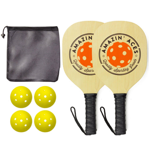 Pickleball Paddle Set By Amazin' Aces | Pickleball Set Includes 2-4 Wood Pickleball Paddles, 4 Pickleballs, 1 Carry Bag & Guaranteed FUN! | Great Rackets For Beginners | Includes Free eBook [product _type] Amazin' Aces - Ultra Pickleball - The Pickleball Paddle MegaStore