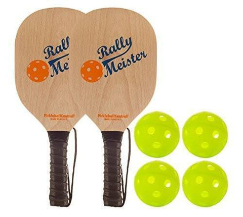 Rally Meister Pickleball Bundle - Two Wood Paddles/Four Jugs Balls [product _type] Rally Meister - Ultra Pickleball - The Pickleball Paddle MegaStore