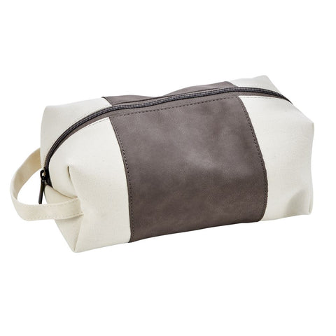 Creative Gifts Leatherette and Canvas Travel Dopp Kit Gray