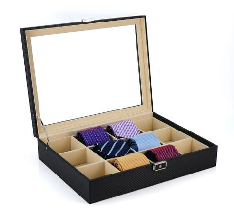 12 Piece Black Carbon Fiber Tie Display Case