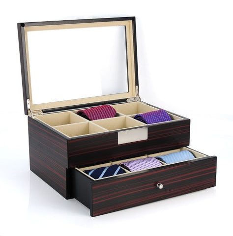 12 Piece Ebony Wood Tie Display Case With Drawer