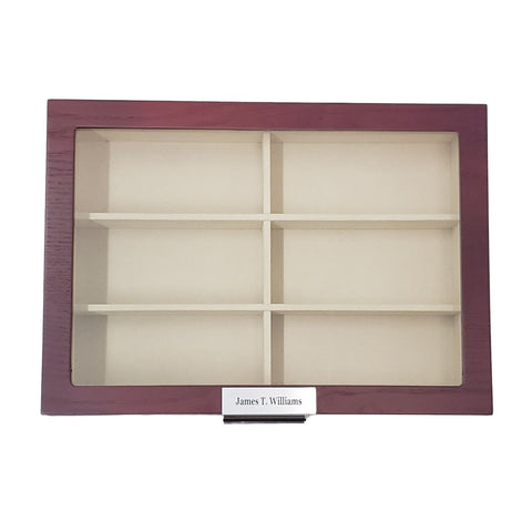 Personalized 12 Piece Large Cherry Wood Sunglass Display Case Drawer Storage Box