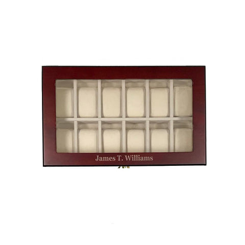 12 Piece Cherry Wood Personalized Watch Display Case and Storage Organizer Box