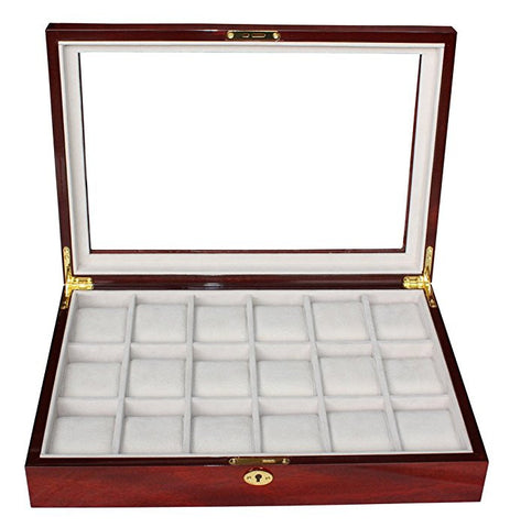 18 Piece Cherry Wood Rosewood Watch Box Display Case Glass Top