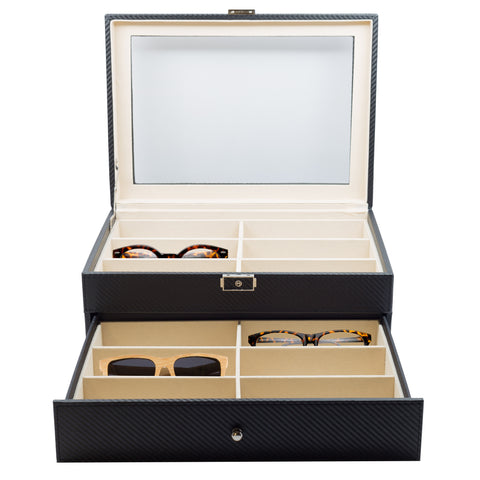 12 Piece Extra Large Black Carbon Fiber Eyeglass Display Case with Drawer