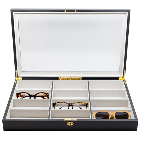 12 Piece Extra Large Black Wood Eyeglass Sunglass Glasses Display Case
