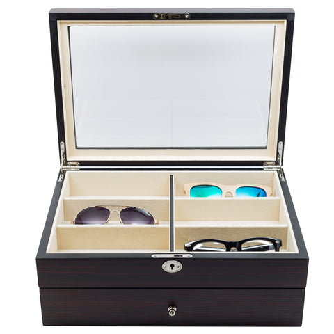 12 Piece Extra Large Ebony Wood Eyeglass Display Case with Drawer