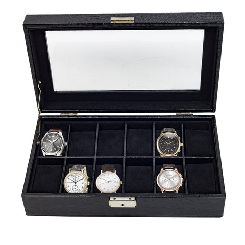 12 Piece Black Croc Watch Display Case and Storage Organizer Box