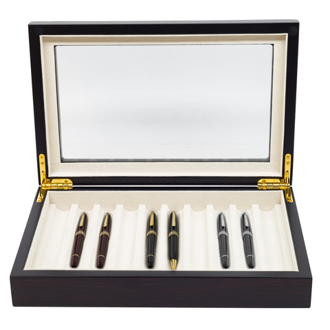 10 PIECE EBONY WOOD PEN DISPLAY CASE