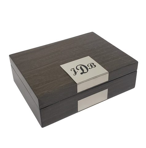 Personalized Grey Ginko Lacquered Wood Watch Cufflink Case & Ring Storage Organizer Men's Jewelry Box