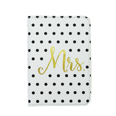 "Mary Square ""Mrs."" Black Dot and Gold Passport Cover"