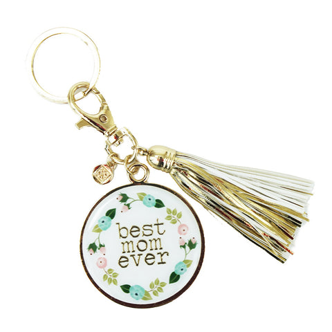 Mary Square Floral Key Chain W/Tassel - Best Mom
