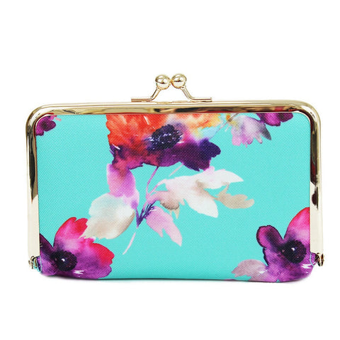 Mary Square Large Pill Case - Teal Floral