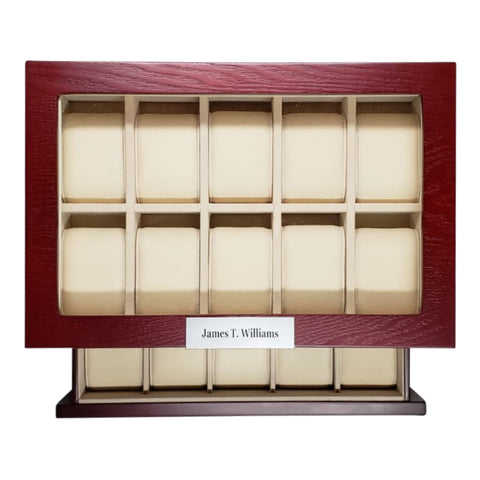 20 Piece Personalized Cherry Wood Watch Display Case Storage Organizer Box Stainless Steel Accents