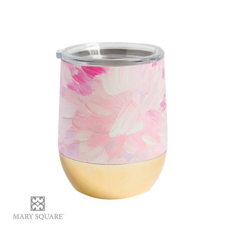 Mary Square Stemless Wine Glass with Lid - Watercolor Flower