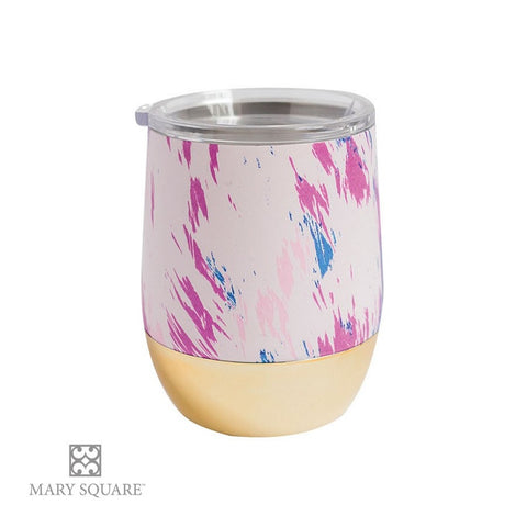 Mary Square Stemless Wine Glass with Lid - Bali Splatter