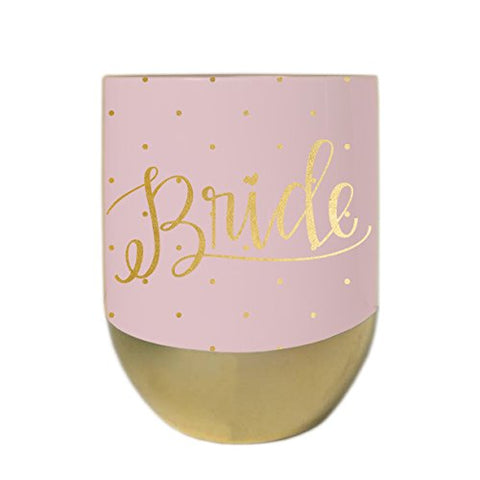 Mary Square Stemless Wine Glass with Lid - Bride