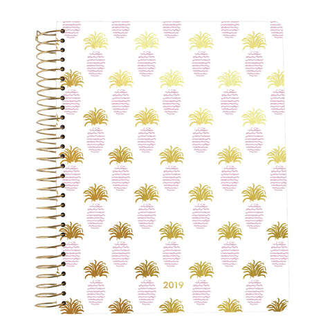 Mary Square 18 Month 2018 - 2019 Agenda - Pink and Gold Pineapples