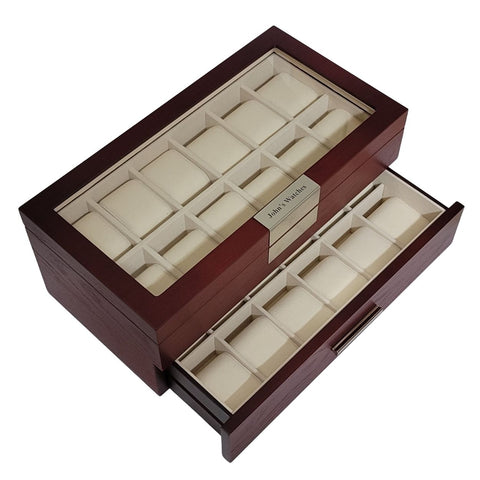 24 Oversized Extra Large Personalized Cherry Wood Watch Box Display Case 2 Level Storage Jewelry Organizer with Glass Top for Luxury Big Face Watches