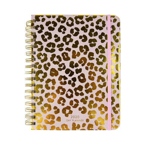 Mary Square 12 Month 2019 - 2020 Agenda - Pink & Gold Leopard Print