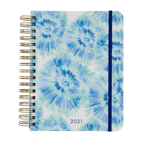 Mary Square 2021 Blue Rush Spiral 18 Month Agenda July 2020 - December 2021