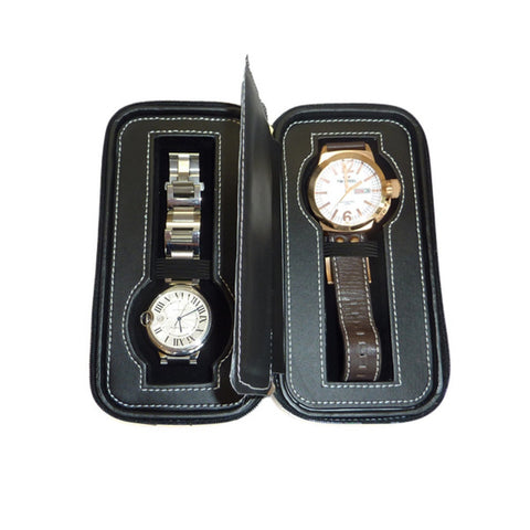 2 Watch Black Leatherette Zippered Travel Watch Case with Black Interior