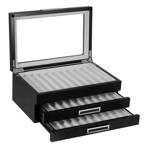 30 Piece Black Ebony Wood Three Level Pen Display Case