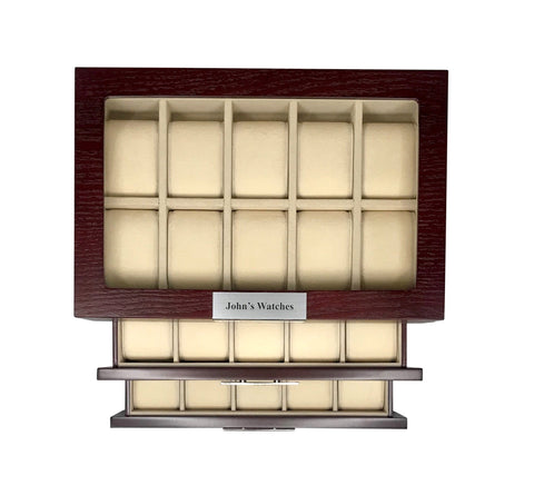 30 Piece Cherry Wood Personalized Watch Display Case 3 Level Storage Organizer Box Stainless Accents