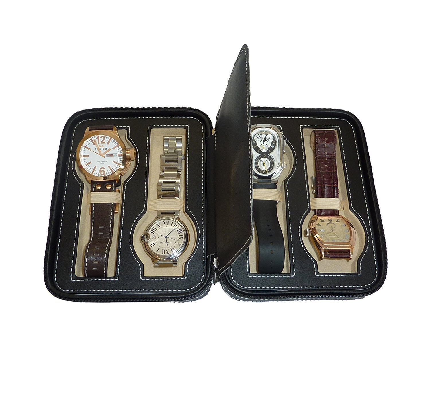 4 Watch Black Leatherette Zippered Travel Watch Case And Organizer